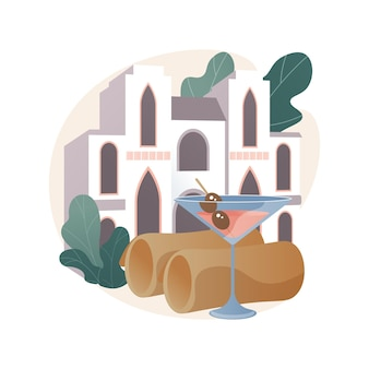 Boutique hotel abstract illustration.