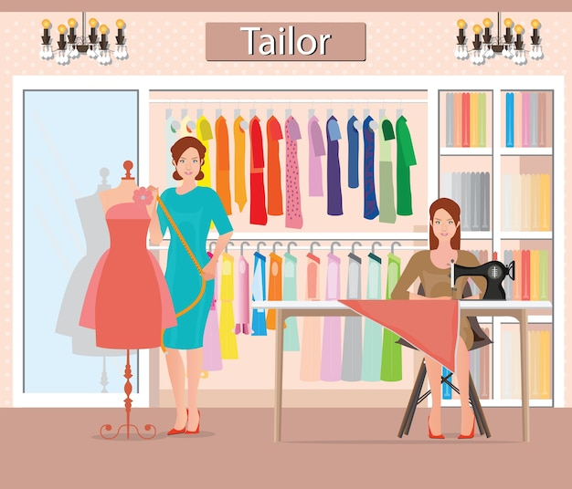 Boutique indoor of woman's cloths fashion