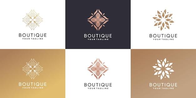 Набор с логотипом бутика в креативном стиле premium векторы