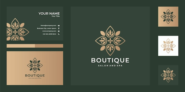 Дизайн логотипа бутика и визитная карточка, хорошее использование для спа, бутиков, спа и модной компании с логотипом