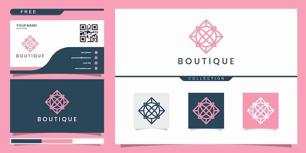 Дизайн логотипа бутика, с концепцией линии. дизайн логотипа и визитная карточка