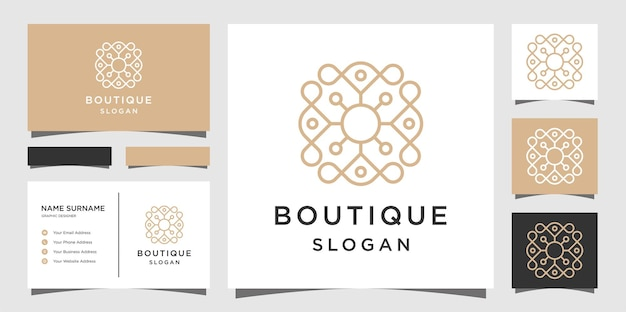 Boutique and logo elegant floral monogram with business card