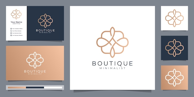 Boutique minimalist simple and elegant floral monogram template