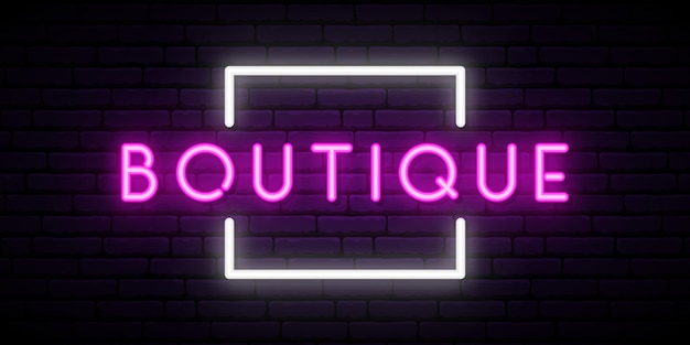 Boutique neon sign vector.