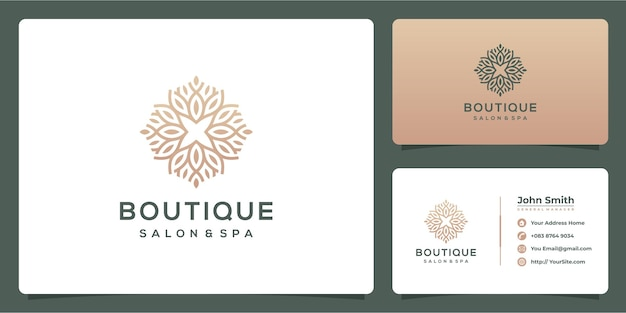 Boutique salon and spa luxury logo with business card template