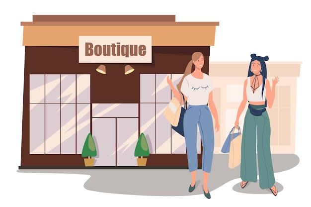 Бутик-магазин, строящий веб-концепцию. две женщины покупают стильную одежду в магазине. подруги встречаются и ходят по магазинам вместе