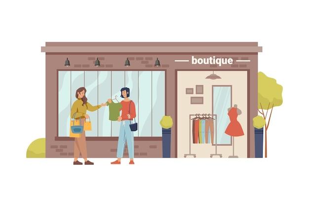 Бутик-магазин фасадный магазин внешней одежды покупатель