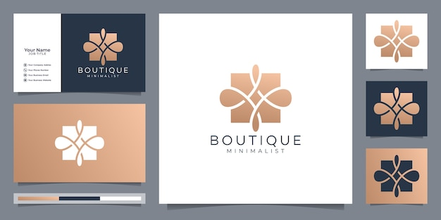 Boutique simple and elegant floral monogram template, elegant art logo design and business card vector illustration.