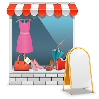 Boutique with billboard isolated on white