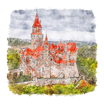 Замок боузов чешская республика акварельный эскиз рисованной иллюстрации