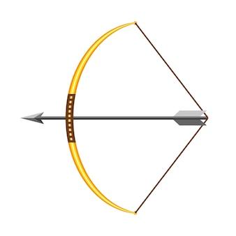 フラットなデザインの弓と矢印のアイコン