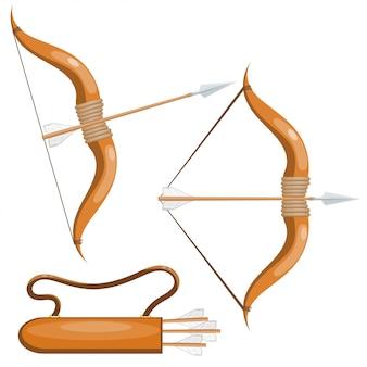 Лук и стрелы и стрелы в колчане.