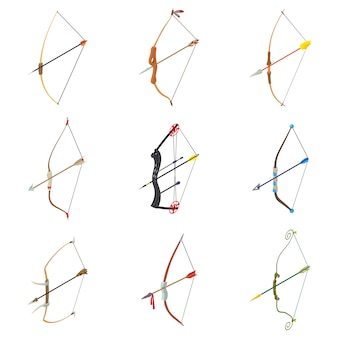 Bow arrow weapon icons set. isometric illustration of 9 bow arrow weapon vector icons for web