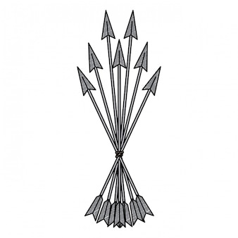 Bow arrows symbol scribble