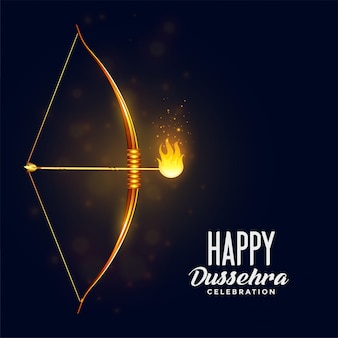 Bow and burning arrow happy dussehra festival card