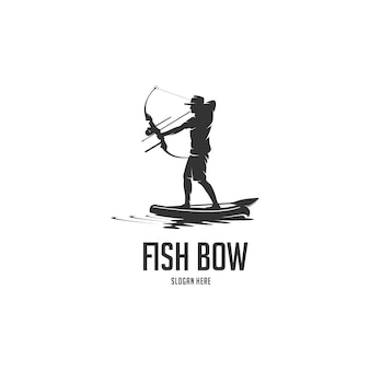 Bow fishing paddle board silhouette logo