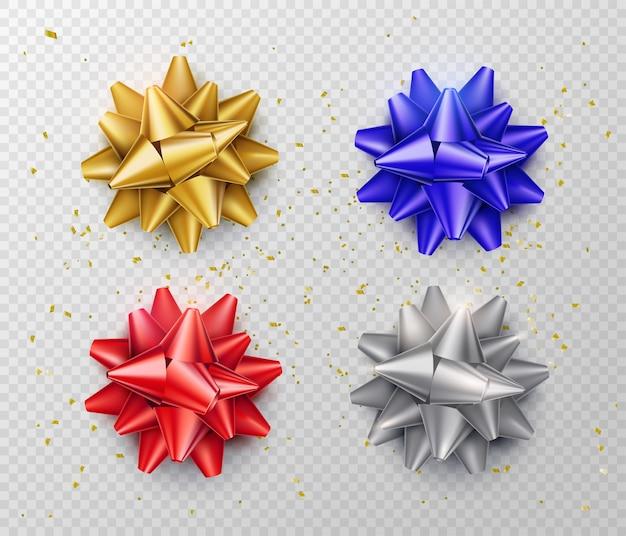 分離された弓。赤、青、銀、金色のリアルなスタイルのギフトリボンセット。上面図。