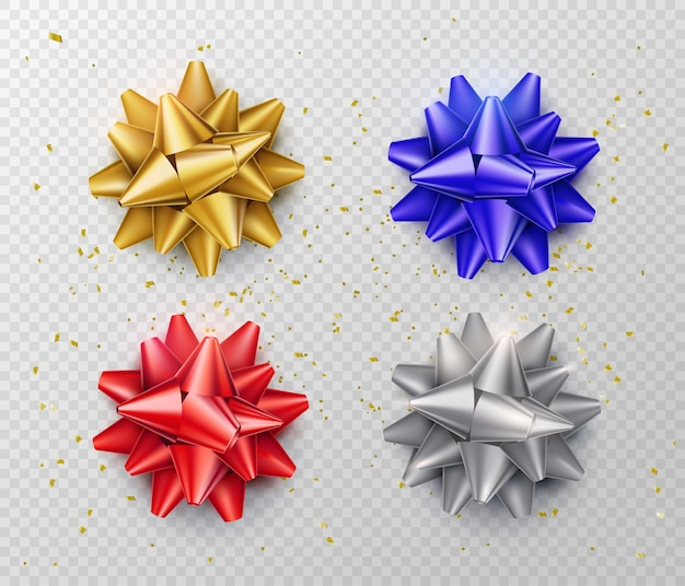 Bow isolated . gift ribbon set in realistic style red, blue, silver, gold color. top view.