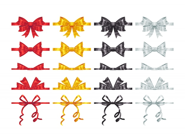 Bow knots elements. collection of  colorful bows decoration parts.