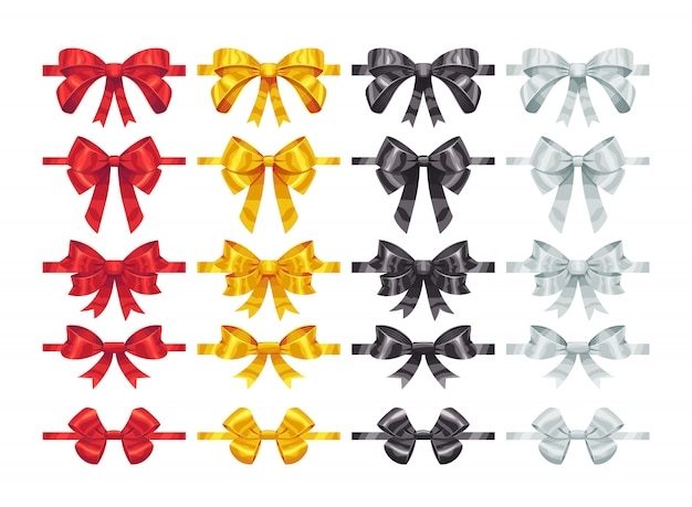 弓ノット要素。カラフルな弓の装飾パーツのコレクション。