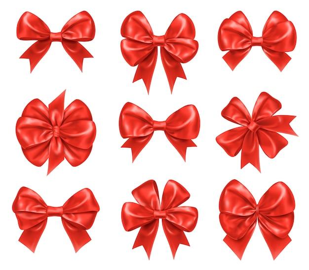 새 해와 크리스마스 선물 장식을위한 나비 매듭.