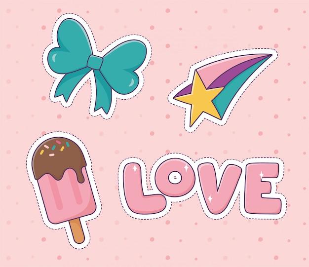 활 사랑 스타 아이스크림 패치 패션 배지 스티커 장식 아이콘