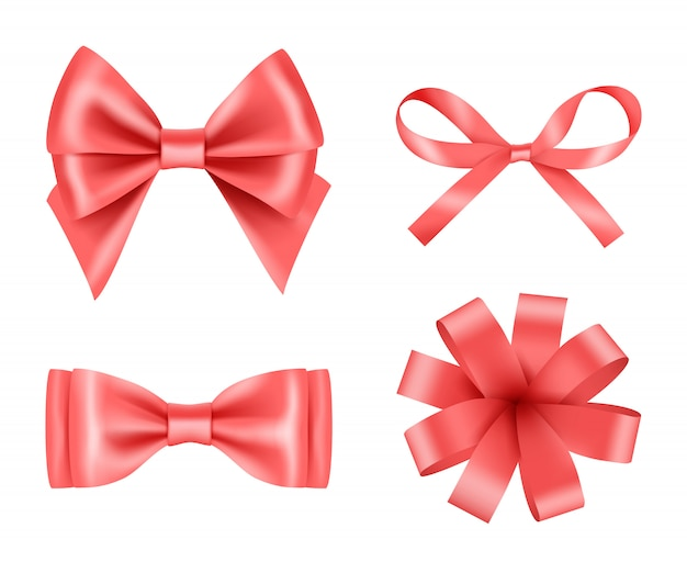 Bow realistic. holiday decoration colored bow with satin ribbons vector 3d pictures set