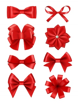 Bow realistic. ribbons for decoration hair bow celebration party items collection