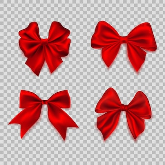 Bow realistic. ribbons for decoration hair bow. set of different shape silk red bows gift decorative element