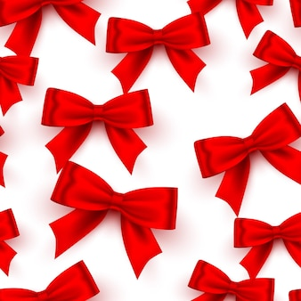 Bow red tape texture seamless on the white background. vector illustration