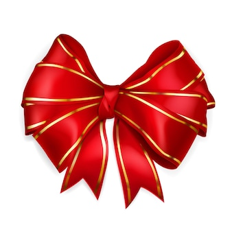 Bow of red wide ribbon with golden strips