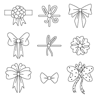 Bow and ribbon black line icons set isolated on a white background.