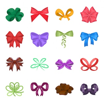 Bow of ribbon  cartoon set icon. gift of present isolated cartoon set icon.  bow of ribbon  .