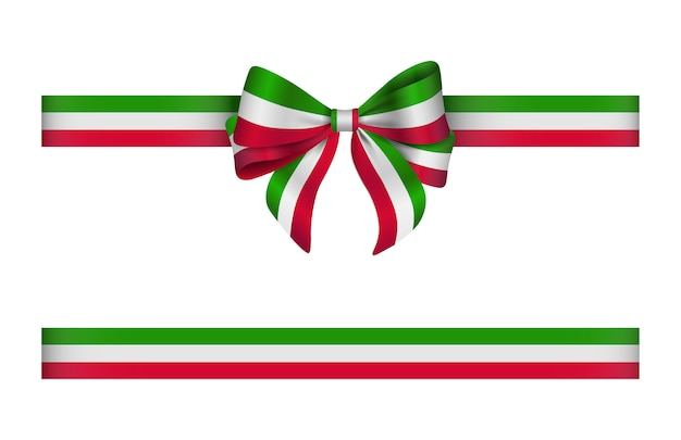 Bow and ribbon with italian flag colors