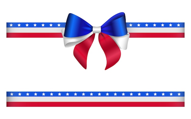 Bow and ribbon with united states flag colors. american bow and ribbon