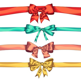 Bow ribbons color isolation on a white background,   illustration.