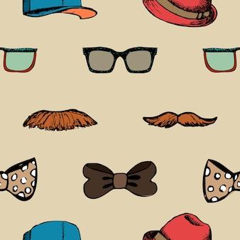 蝶ネクタイ、メガネ、口ひげのシームレスなパターン。流行に敏感な背景