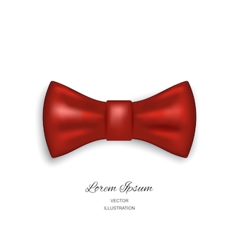 Bow tie or neck tie simple icon isolated on white background. realistic 3d illustration of red silk or satin bowtie