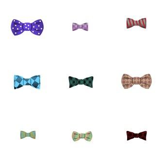 Bow tie set, cartoon style