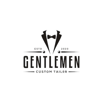 Bow tie tuxedo suit gentleman fashion tailor clothes vintage classic logo design
