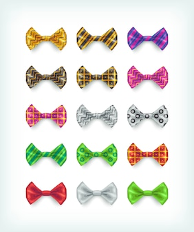 Bow ties icons collection. different color and pattern necktie  illustrations
