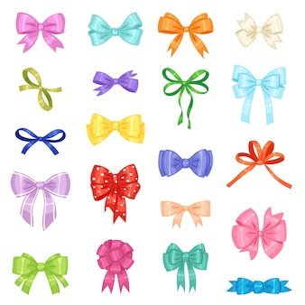 Bow vector bowknot or ribbon for decorating gifts illustration set