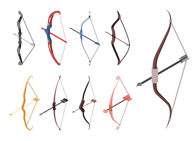 Bow weapon icon set. isometric set of bow weapon vector icons for web design isolated on white background