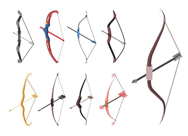 弓の武器のアイコンを設定します。 webデザインの白い背景で隔離の弓武器ベクトルアイコンの等尺性セット