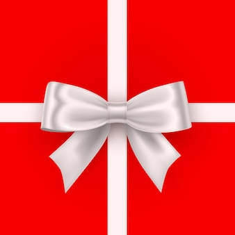 Bow white tape on the red background. vector illustration