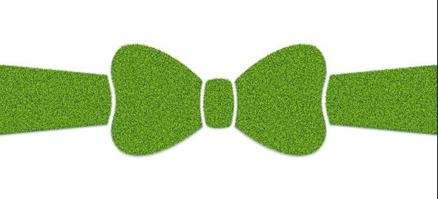 Bow with ribbon with grass texture, element for design of advertising of eco-friendly products.