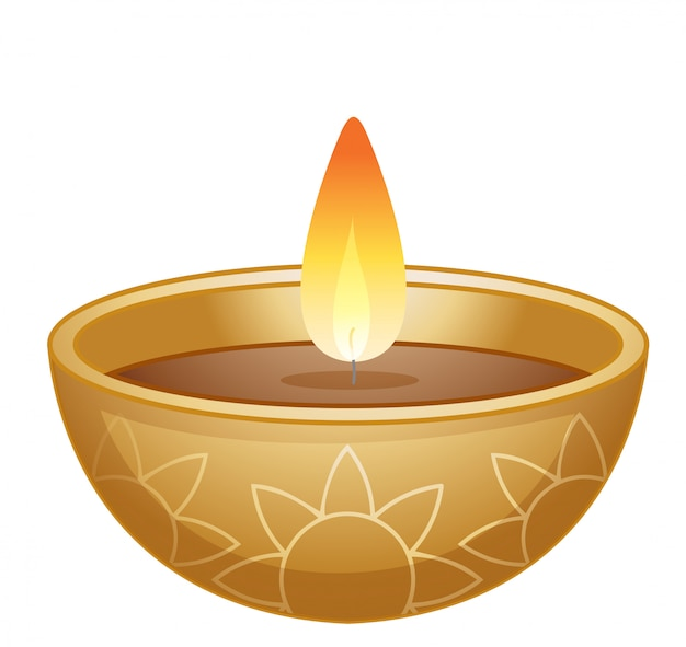 Bowl of candle light on white