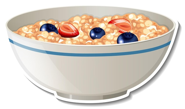 A bowl of cereal sticker on white background
