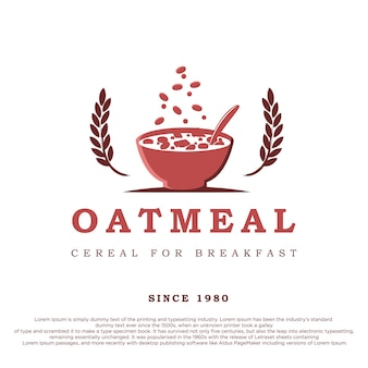 A bowl of cereal with two oats vintage retro style oatmeal logo design