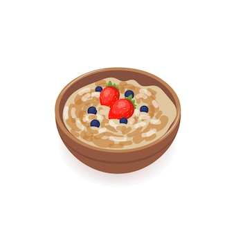 Bowl of delicious oat porridge decorated with fresh strawberries and blueberries isolated on white background